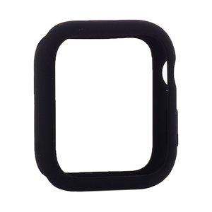 Силиконовый чехол Coteetci Liquid Case чёрный для Apple Watch 4/5/6/SE 44mm
