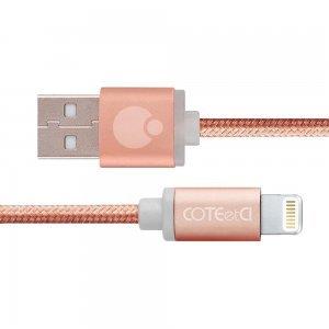 Кабель Lightning Coteetci M30i 3м, рожеве золото для iPhone / iPad / iPod