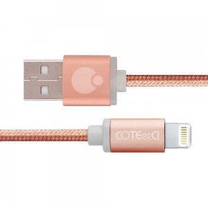 Кабель Lightning Coteetci M30i 3м, розовое золото для iPhone/iPad/iPod