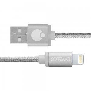 Кабель Lightning Coteetci M30i 3м, сріблястий для iPhone / iPad / iPod