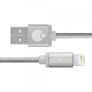 Кабель Lightning Coteetci M30i 3м, серебристый для iPhone/iPad/iPod