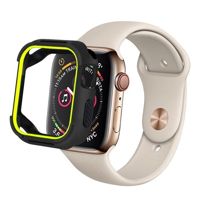 Полиуретановый чехол Coteetci PC+TPU Case салатовый + черный для Apple Watch 4/5/6/SE 44mm