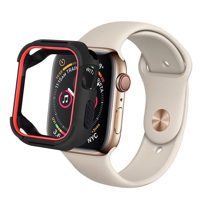 Полиуретановый чехол Coteetci PU+TPU Case красный + черный для Apple Watch 4 44mm