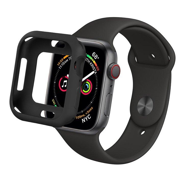 Силиконовый чехол Coteetci TPU Case чёрный для Apple Watch 4/5 44mm