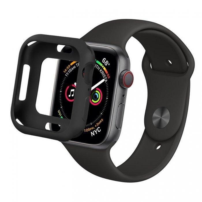 Силиконовый чехол Coteetci TPU Case чёрный для Apple Watch 4 44mm