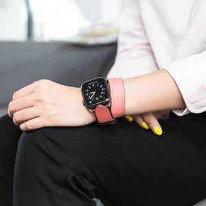 Ремешок Coteetci W36 Long бордовый + розовый для Apple Watch 42mm/44mm