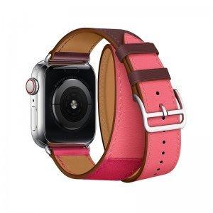 Ремешок Coteetci W36 Long бордовый + розовый для Apple Watch 38mm/40mm