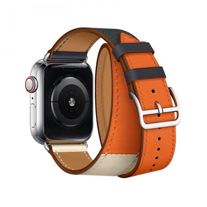 Ремешок Coteetci W36 Long синий + оранжевый для Apple Watch 42mm/44mm