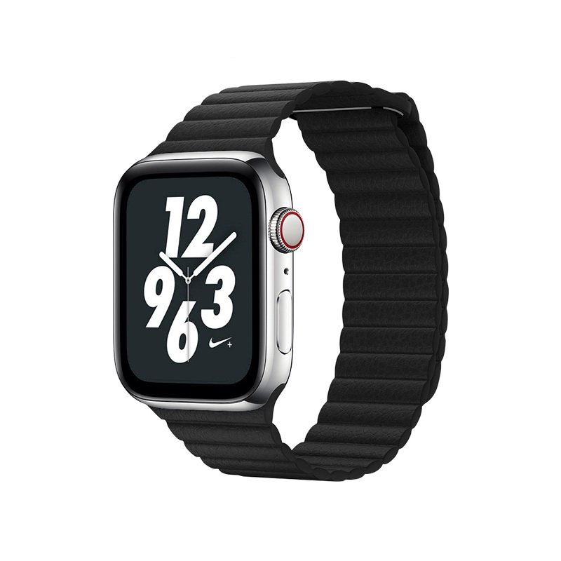 Ремешок Coteetci W7 Leather Magnet Band чёрный для Apple Watch 42mm/44mm