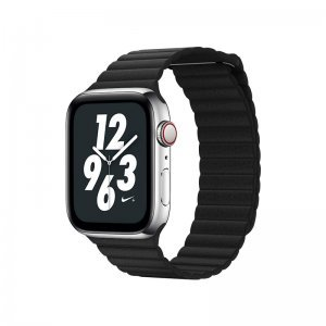 Ремешок Coteetci W7 Leather Magnet Band чёрный для Apple Watch 42mm/44mm