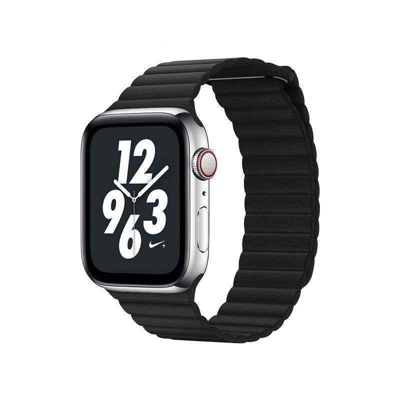 Ремешок Coteetci W7 Leather Magnet Band чёрный для Apple Watch 38mm/40mm