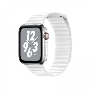 Ремешок Coteetci W7 Leather Magnet Band белый для Apple Watch 42mm/44mm