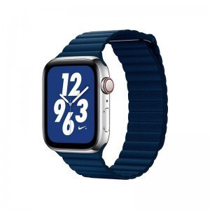 Ремешок Coteetci W7 Leather Magnet Band синий для Apple Watch 42mm/44mm