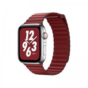 Ремешок Coteetci W7 Leather Magnet Band красный для Apple Watch 42mm/44mm