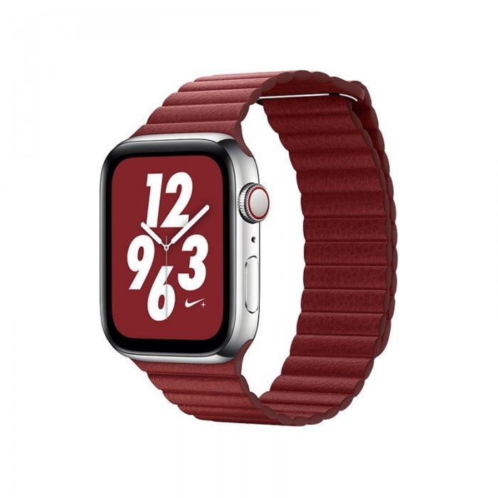 Ремешок Coteetci W7 Leather Magnet Band красный для Apple Watch 38mm/40mm