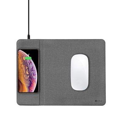 Беспроводное ЗУ + коврик для мышки Coteetci серый