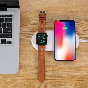 Беспроводное зарядное устройство Coteetci WS-7 белое для Apple Watch и iPhone