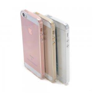 Силиконовый чехол Coteetci Airbag розовое золото + прозрачный для iPhone 5/5S/SE
