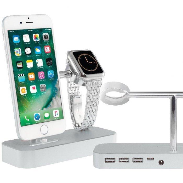 Док-станция Coteetci Base Hub B18 для iPhone с 3 USB, Type-C серебристая