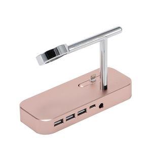 Док-станция Coteetci Base Hub B18 для iPhone с 3 USB, Type-C розовое золото (уценка)