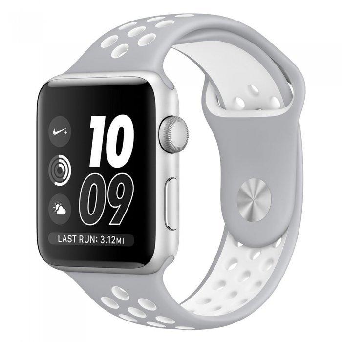 Ремешок Coteetci W12 Nike серый + белый для Apple Watch 42/44 мм