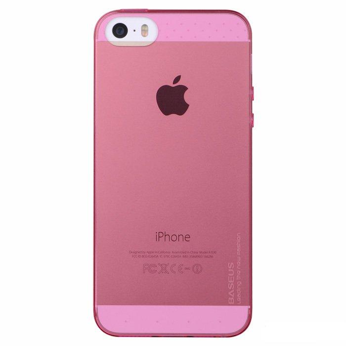 Чехол-накладка для Apple iPhone 5/5S - Baseus Air розовый