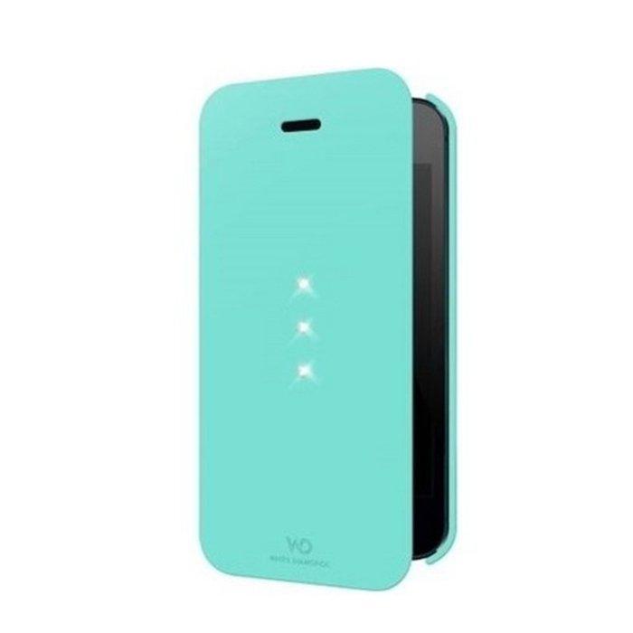 Чехол-книжка для Apple iPhone 5S/5 - White Diamonds Crystal Booklet голубой