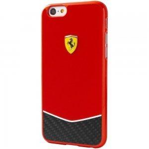 Чехол-накладка для Apple iPhone 6/6S - Ferrari Scuderia Glossy Carbon Fiber Bottom красный