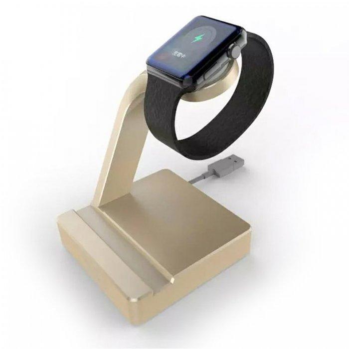 Док-станция для Apple Watch, iPhone 5/5S/5S/6/6 Plus - e7 stand AL золотистая