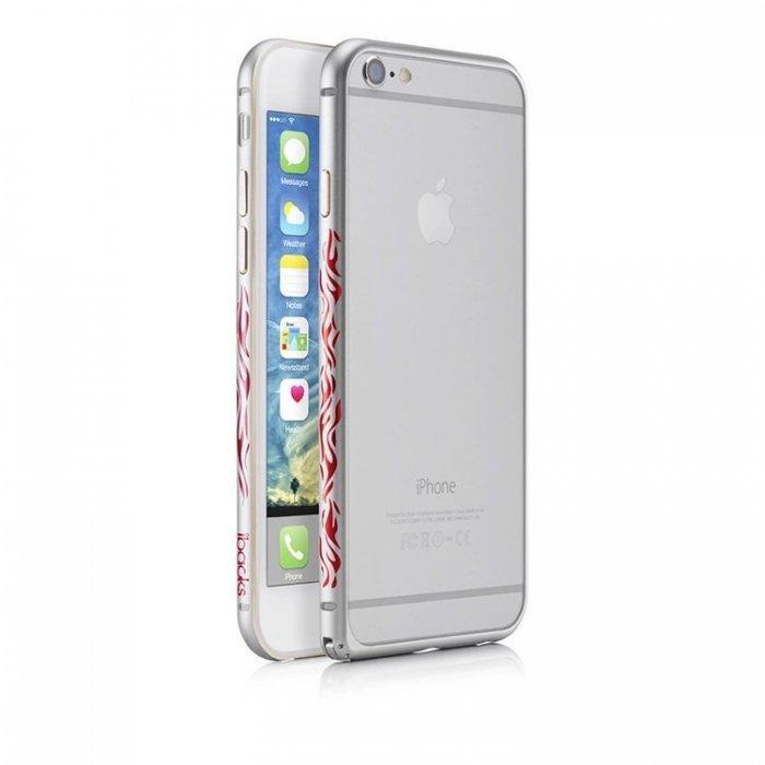 Чехол с рисунком iBacks Cameo Flame серебристый для iPhone 6