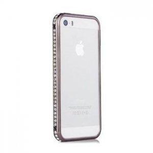 Бампер со стразами Diamond Crystal черный для iPhone 5/5S/SE