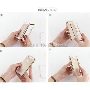 Бампер со стразами Diamond Crystal серебристый для iPhone 5/5S/SE