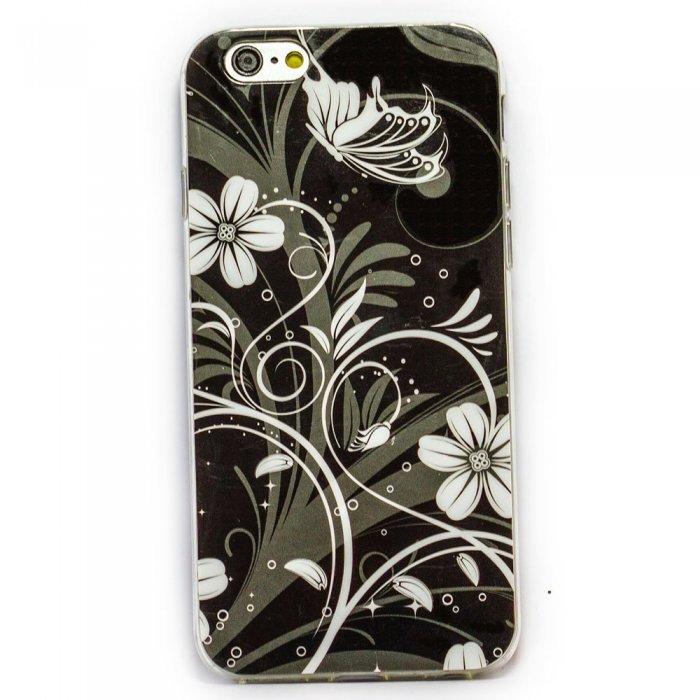 Чехол-накладка для Apple iPhone 6 - черно-белые цветы