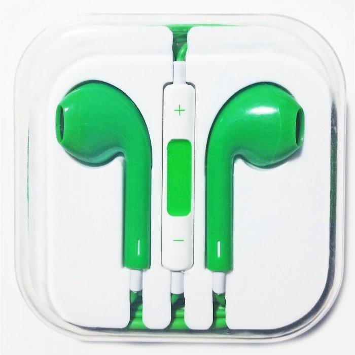 Наушники аналог Apple EarPods с микрофоном и пультом управления зеленые