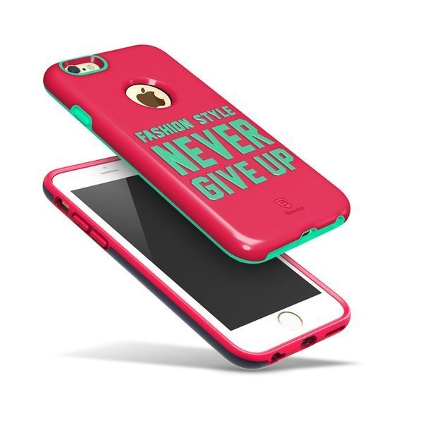 Чехол с рисунком Baseus Fashion розовый + зеленый для iPhone 6/6S