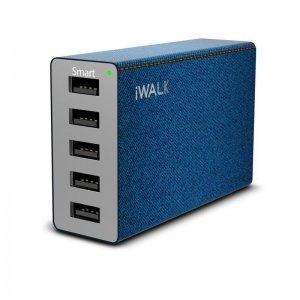 Сетевое зарядное устройство iWalk Leopard M5, 5 USB, 8А, синий