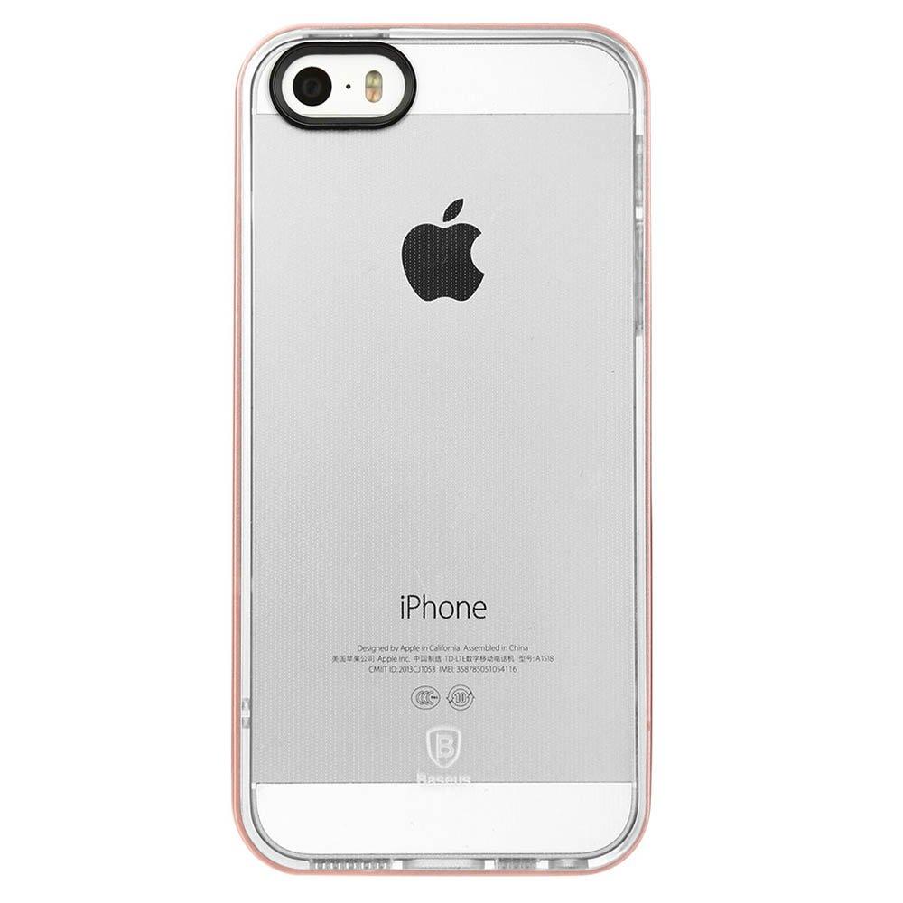 Прозрачный чехол Baseus Soft Feather прозрачный + розовый для iPhone 5/5S/SE
