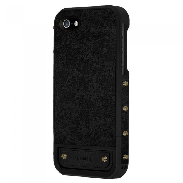 Чехол-накладка Lucien Elements Le Baron Leather для Apple iPhone 5S/5 чёрный + золотистый