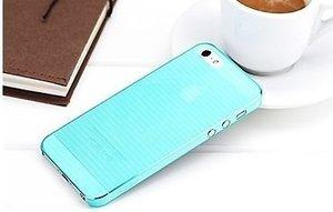 Полупрозрачный чехол ROCK Texture голубой для iPhone 5/5S/SE