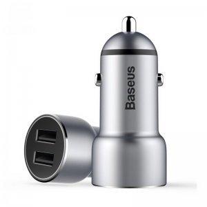 Автомобильное зарядное устройство Baseus Small Giant 2 USB , 3.4 Amp, серебристое