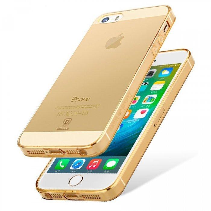 Полупрозрачный чехол Baseus Simple золотой для iPhone 5/5S/SE