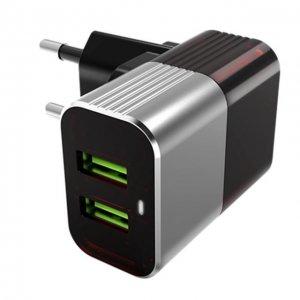 Сетевое зарядное устройство H'MASTON Pro Adaptive Travel Charger H2206 2xUSB серое