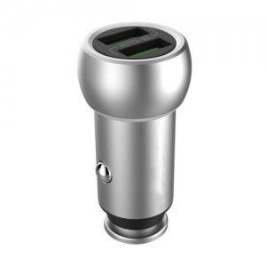 Автомобильное зарядное устройство H'MASTON Pro Auto-ID USB Zinc Alloy Charger H401 2xUSB серебристое