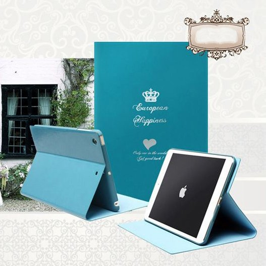 Чехол с рисунком iBacks Ultra-slim Crown голубой для iPad mini 2/3