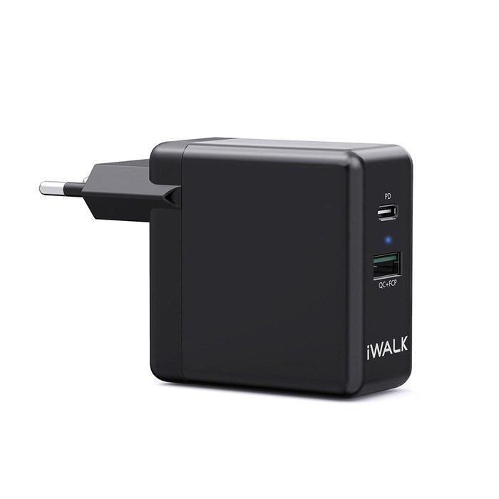 Сетевое зарядное устройство iWalk Leopard Duo PD, QC чёрное