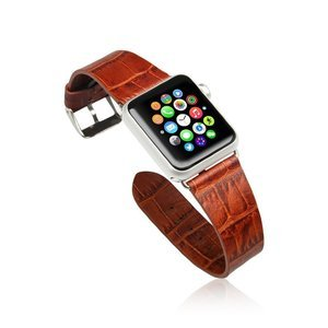 Ремешок для Apple Watch 38mm - Jisoncase Genuine cow crocodile leather коричневый