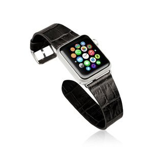 Ремешок для Apple Watch 38mm - Jisoncase Genuine cow crocodile leather черный