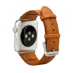 Ремешок для Apple Watch 38mm - Jisoncase Genuine leather Vintage коричневый