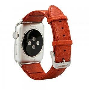Ремешок для Apple Watch 38mm - Jisoncase Genuine leather Vintage красный