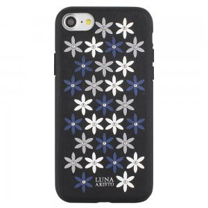 Кожаный чехол Luna Aristo Daisies чёрный для iPhone 7/8/SE 2020